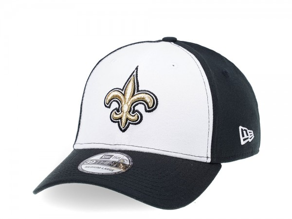 New Era New Orleans Saints Curved Black and White Edition 39Thirty Stretch Cap
