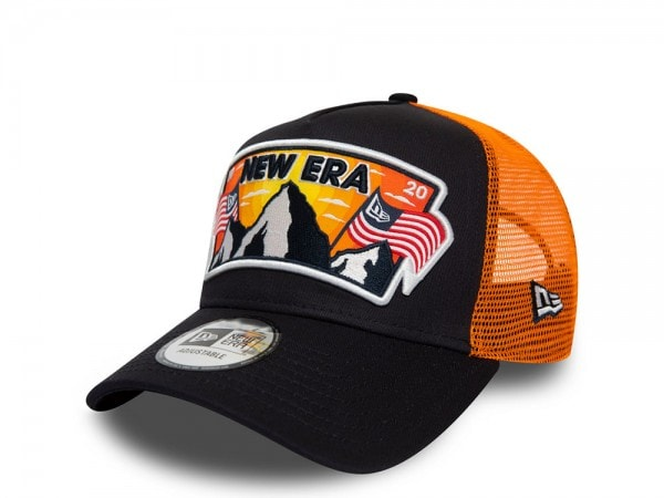 New Era NE Star Patch Orange A Frame Trucker Cap
