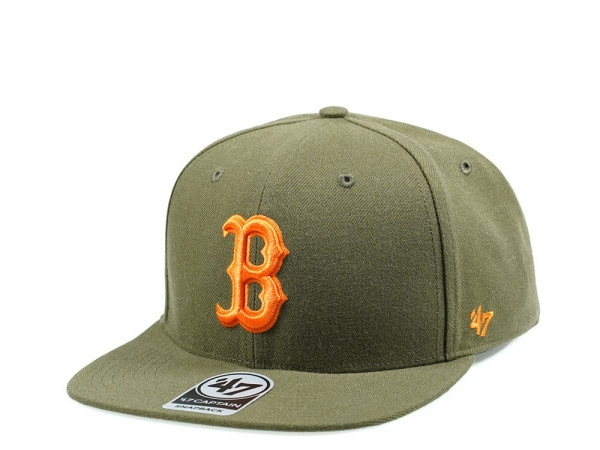47Brand Boston Red Sox Olive No Shot Captain Snapback Cap