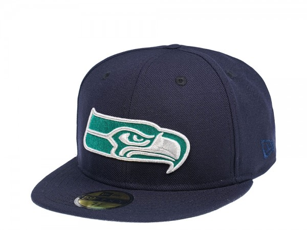 New Era Seattle Seahawks Navy and Green 59Fifty Fitted Cap