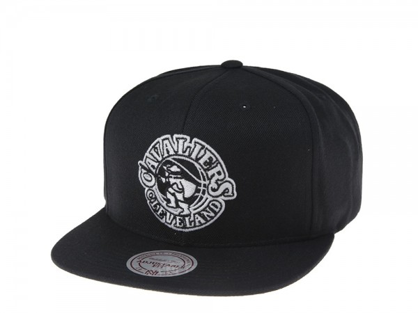 Mitchell & Ness Cleveland Cavaliers Black and White Team Snapback Cap